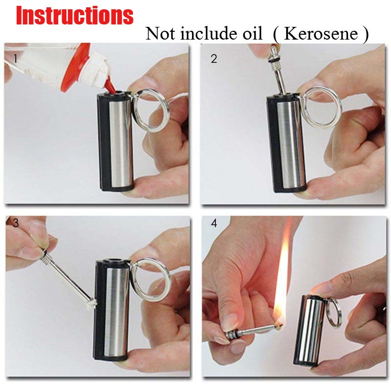 Outdoor Emergency Survival Camping Lighter Portable Stainless Steel Waterproof Forever Lighter Match Keychain No Oil