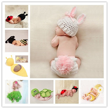 Newborn Baby Cute Crochet Knit Costume Prop Outfits Photo Photography Hat Props New born baby girls Outfit 0-12M