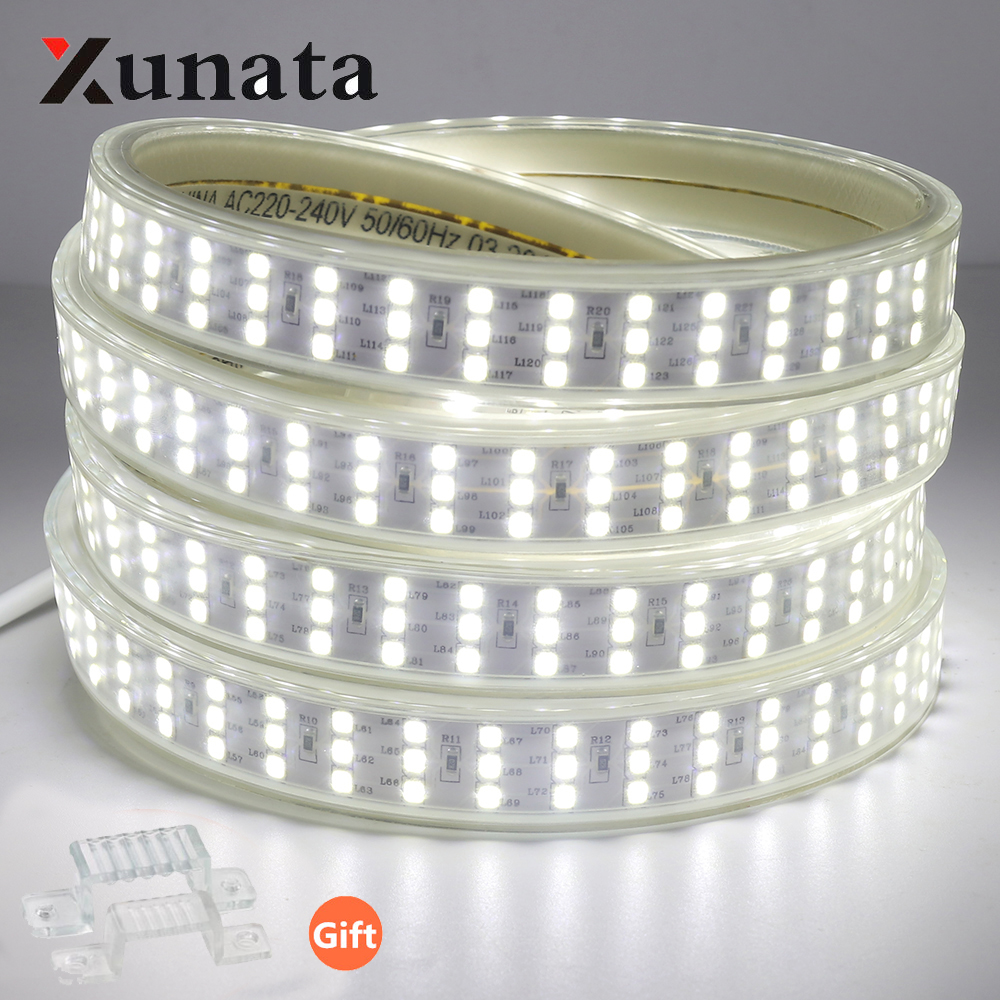 SMD 2835 LED Strip Light Waterproof 276 LEDs/m Three Row Led Light 144LEDs/m Flexible Tape LED Light Strip 220V High Quality