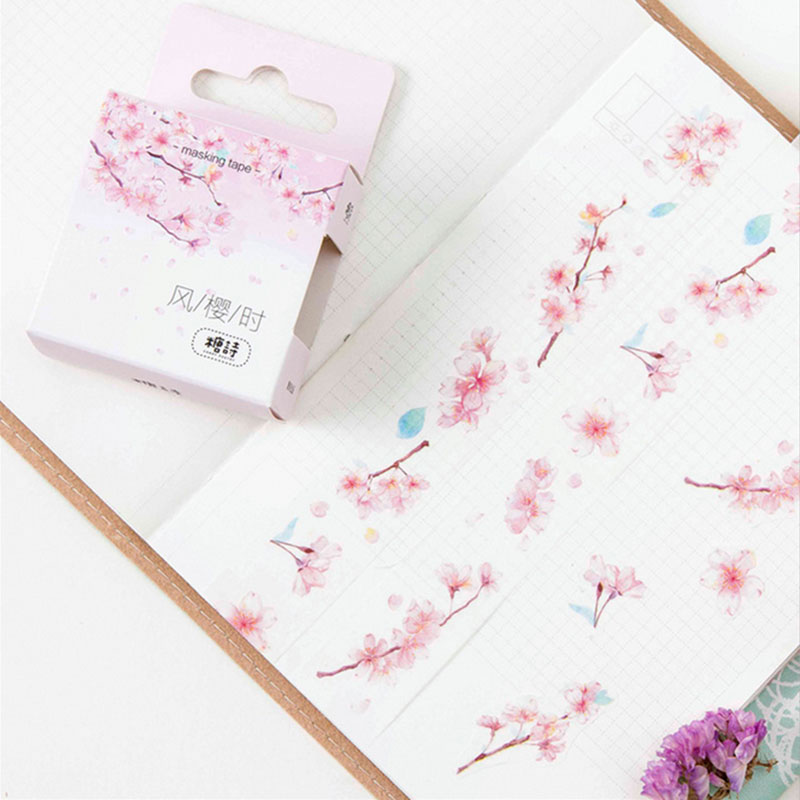 2cm*5m Cherry blossoms washi Tape DIY decoration scrapbooking planner masking tape adhesive tape label sticker stationery 1 5cm 8m colorful flag washi tape diy decoration scrapbooking planner masking tape adhesive tape label sticker stationery