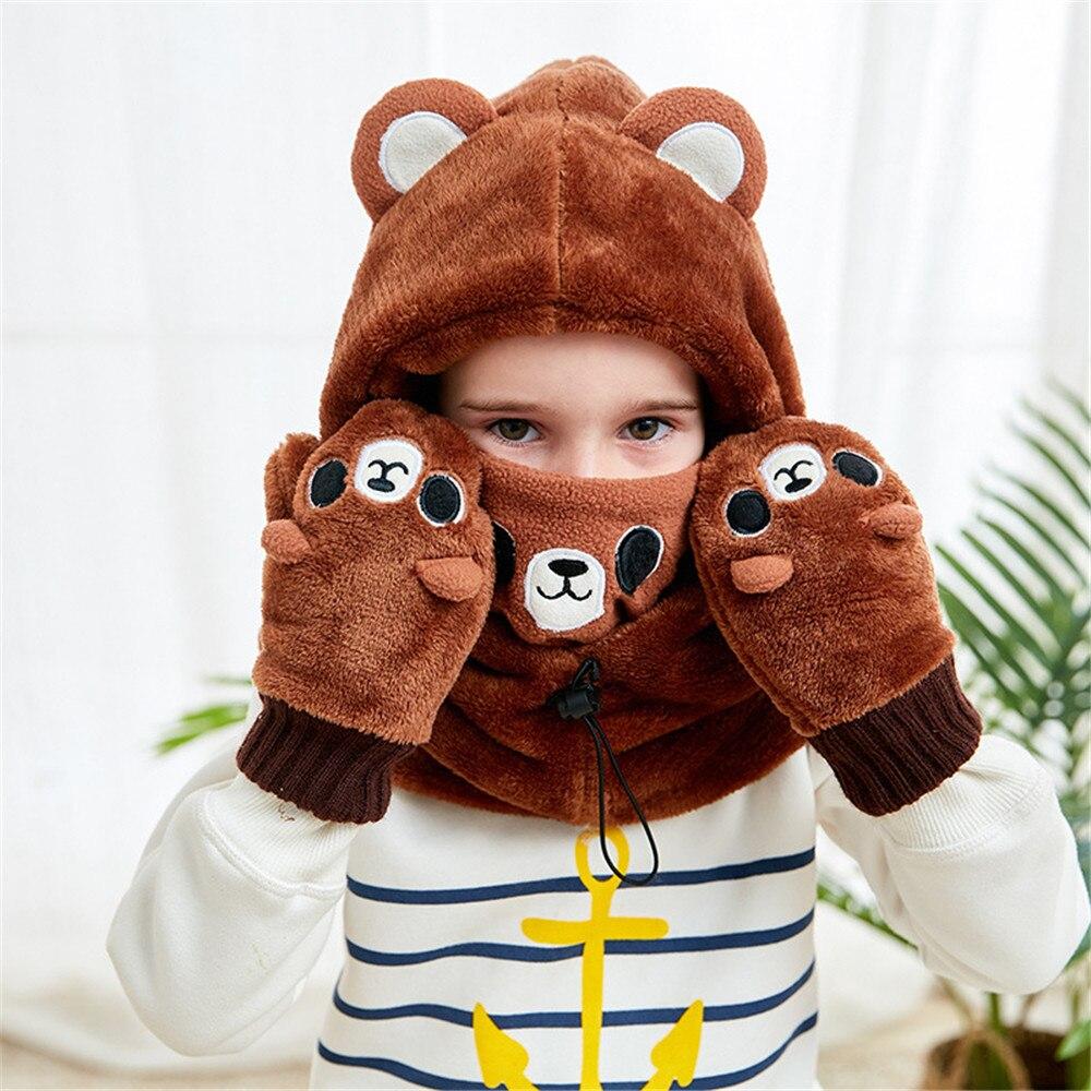Cosplay children's hat autumn and winter bib headgear gloves warm thickening ear dinosaur hat gloves Christmas gift