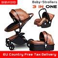 25 usd Coupon! babyfond Lederen kinderwagen luxe kinderwagen 3 in 1 Opvouwbare kinderwagen baby kinderwagen kinderwagen stuur gratis geschenken