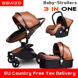 25 usd Cupom! carrinho de criança carrinho de bebê de luxo de Couro Babyfond 3 em 1 kinderwagen carrinho de criança carrinho de bebê carrinho de bebê Dobrável enviar brindes