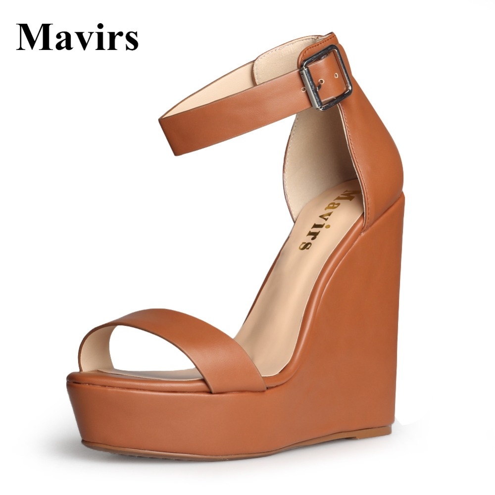 MAVIRS 2017 Summer Fashion Ultra High Wedges High Heels Platform Gladiator Sandals Brown Women Shoes US Size 5 - 15 2017 suede gladiator sandals platform wedges summer creepers casual buckle shoes woman sexy fashion beige high heels k13w