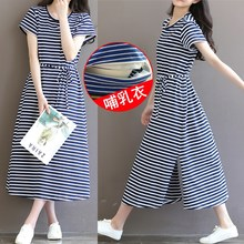 Afei Tony Summer Striped Maternity Nursing Dress With High Quality Fabric Pregnancy Dress for Pregnant Women Maternity Clothes(China)