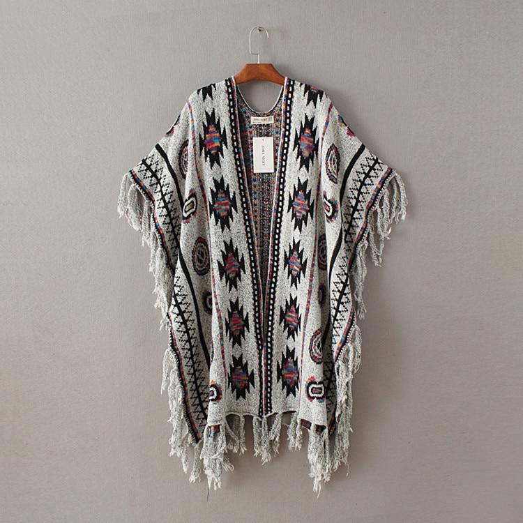 Žene 3 boje Aztec dugi kardigan Vintage Geo Uzorak rese Pleteni - Ženska odjeća - Foto 6