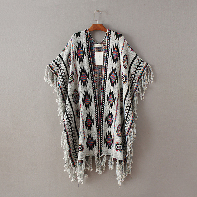 Կանայք 3 գույներ Aztec Long Cardigan Vintage Geo Pattern - Կանացի հագուստ - Լուսանկար 6