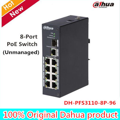 DAHUA 8Port PoE Switch Unmanaged Two-layer industrial PoE switch Support IEEE802.3af, IEEE802.3at standard PFS3110-8P-96
