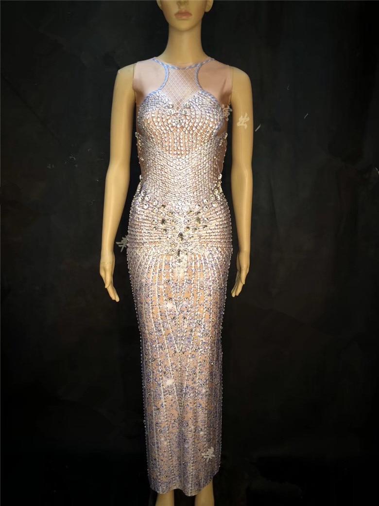 Femmes D'anniversaire 2019 Longue Danse Sexy Nouveau Diamants Célébration Costume Partie Dj De Adulte D'été Chanteur Robe D'hôtes Hôtes Tdrdxw