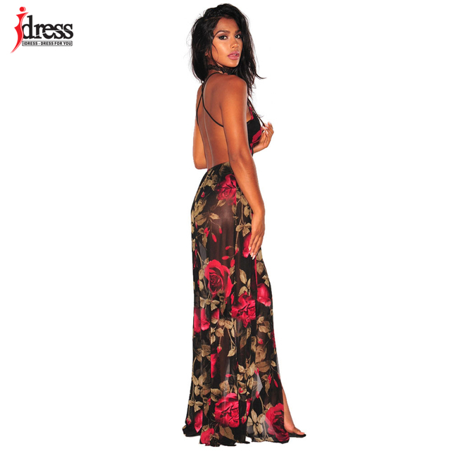 d3aa7b4d331 IDress New Latex Spaghetti Strap Backless Deep V Long Party Club Dresses  Floral Print Floor Length
