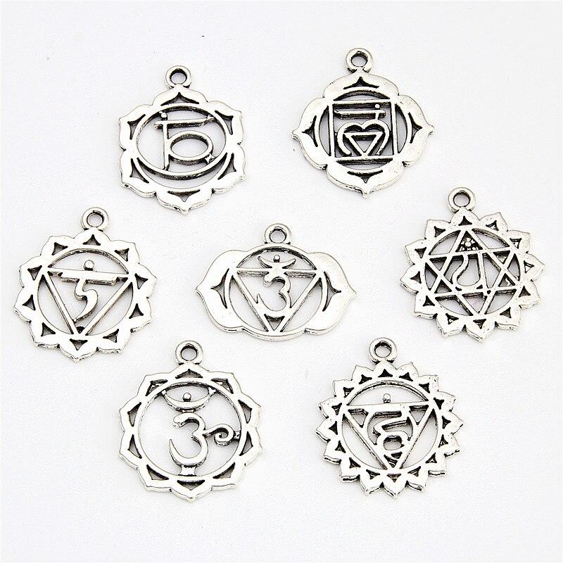 ★  7 шт. Античное серебро 7 чакра подвески мандала кулон йога ом буддийские металлические ювелирные изд ①