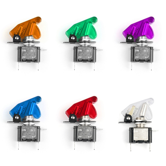 Areyourshop Toggle Switch 12V 20A Cover LED Light Rocker Toggle Switch SPST ON/OFF Car Truck Boat 6 Colors Wholesale Connector