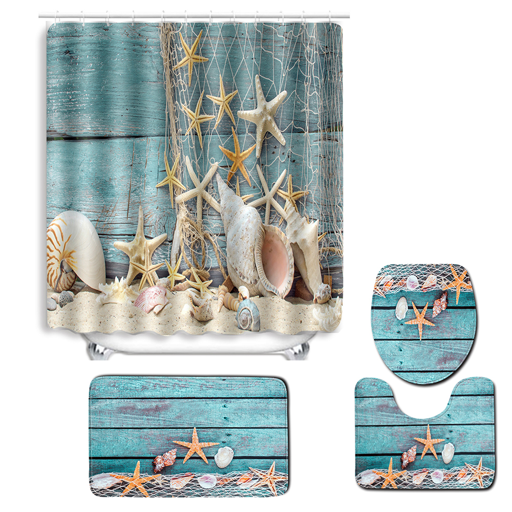 Turtles Printed Bathroom Curtain Set with 12 Hooks Made Of PVC Material For Toilet Window 1