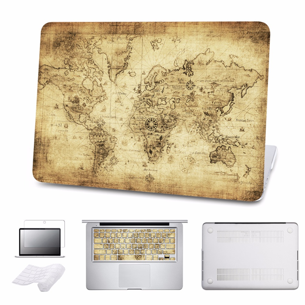 все цены на World Map Hard Case For Apple Macbook Air 13 Case Air 11 Pro 13 Retina 12 13 15 Touch Bar Laptop Bag For Mac Pro Cover Sleeve