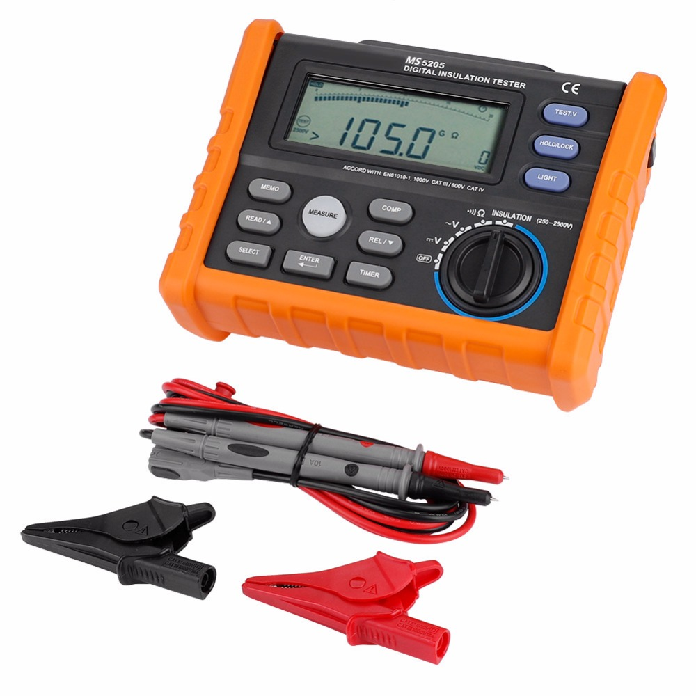 PEAKMETER MS5205 Digital Insulation Resistance Multimeter Megger Tester 0 01ohm 100Gohm 2500V