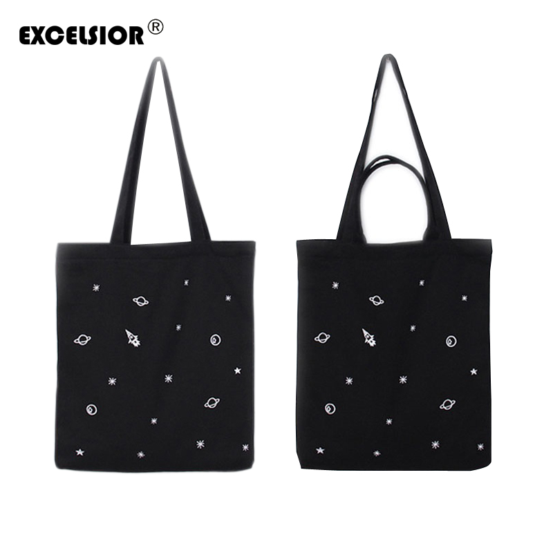 EXCELSIOR Girl Lovely Canvas Handbag Women Daily Shopping Single Shoulder Tote Female Cotton Beach Bags Space Printed Bag G0884