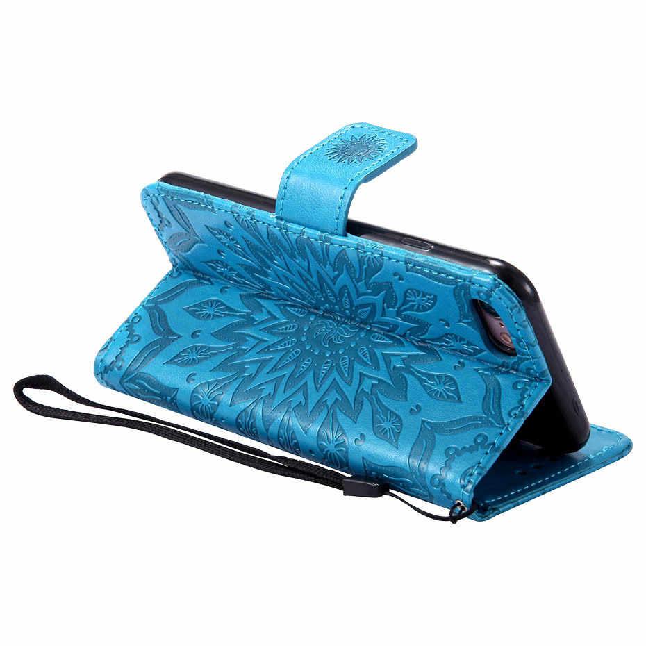 حقيبة لهاتف سامسونج غالاكسي S3 S4 S5 S6 S7 S8 S9 حافة زائد نوت 3/4/5/8 A3 A5 2017 A8 2018 الشمس زهرة المحفظة فتحة بطاقة الهاتف غطاء