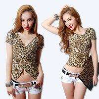 New In 2016 Summer V Neck Short Sleeve Vest Women Sexy Leopart Print Navel Cropped Tops
