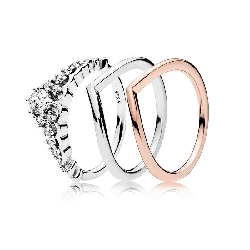 3 Style Silver Charms Ring Rose Gold Radiant Love Crystal Crown Style Finger Rings For Women Party Jewelry Gift
