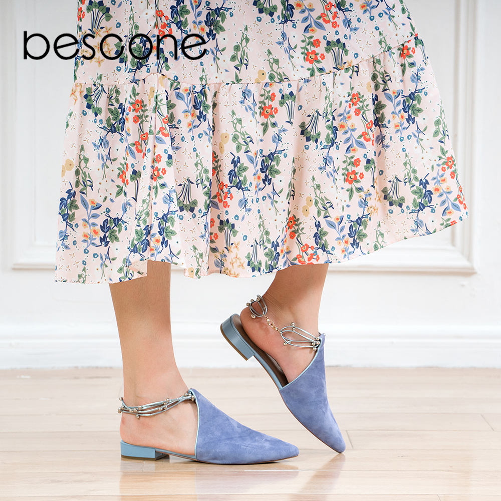 BESCONE 2019 Spring New Fashion Woman Shoes Luxury Solid Novelty Ankle Strap Shoes Elegant Casual Soft