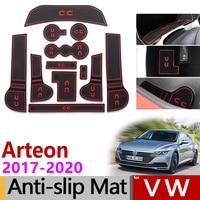 Anti Slip Rubber Gate Slot Cup Mat for VW Arteon 2017 2018 2019 2020 Volkswagen R Line Passat CC Accessories Sticker Car Styling