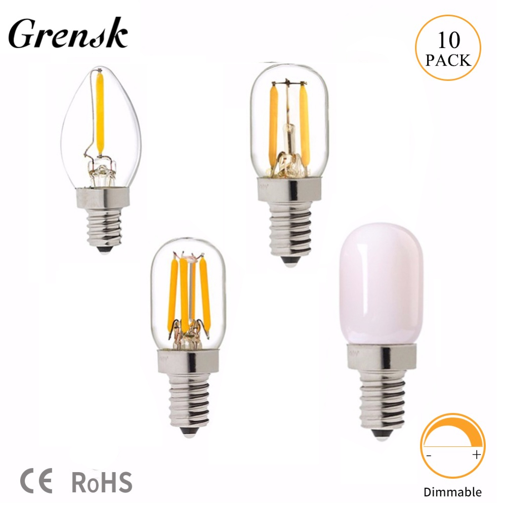 Grensk T20 C7 E12 Led Bulb 2700k 0.5W 1W 2W Led Bulb E14 220V Dimmable Retro Mini LED Lamp Light Edison Refrigerator 110V 220V