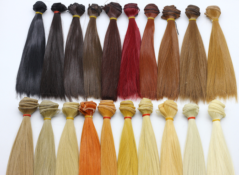 15*100cm hair refires bjd hair 25cm*100cm black gold brown khaki white coffee color straight wig hair for 1/3 1/4 BJD diy