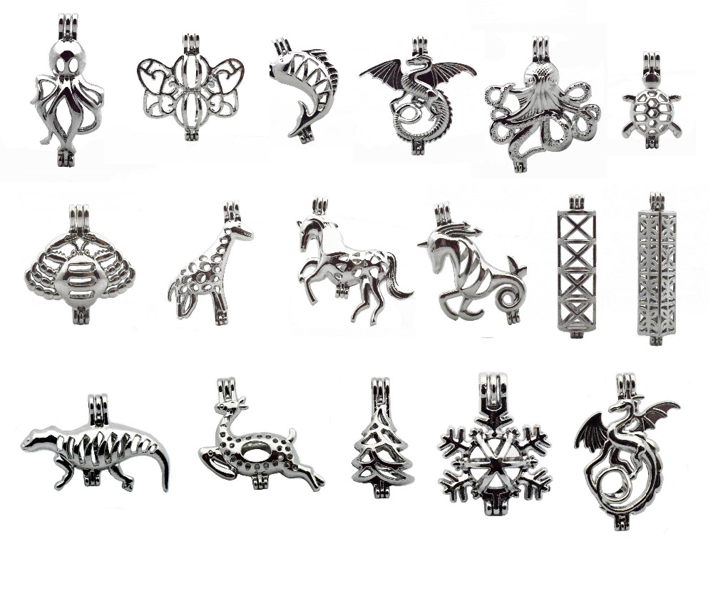 5pcs Silver Creative Cute Octopus Elk DragonDesign Jewelry Making Pearl Beads Cage Pendant Essential Oil Diffuser Trendy Jewelry jewelry making
