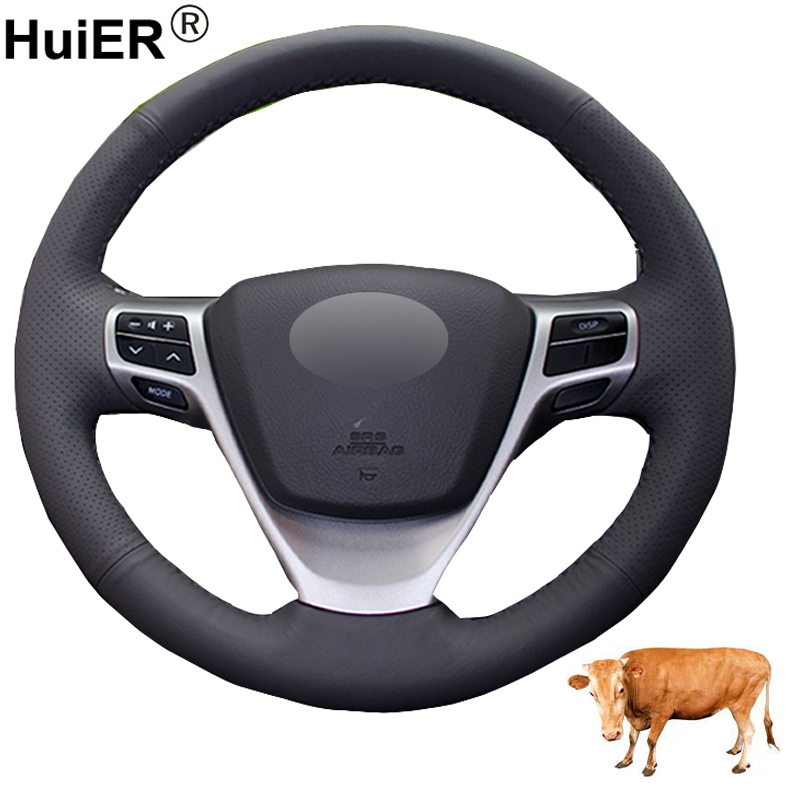 Hand Sewing Car Steering Wheel Cover Top Layer Cow Leather Funda Volante Braid on the Steering-wheel For Toyota Verso EZ Avensis(China)