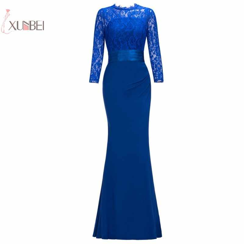 2019 Floral Lace Elegant Mermaid Long Prom Dress Three Quarter Cheap Prom  Gown Vestido de festa 78544e61d92b