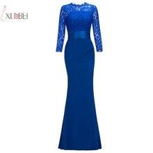 2019 Elegant Mermaid Long Prom Dress Three Quarter Cheap Gown Vestido de festa longo New