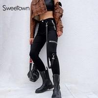 Sweetown Autumn Push Up Black Leggings Women Trending Products 2018 Leggins Mujer Streetwear High Waist Punk Legging Pants