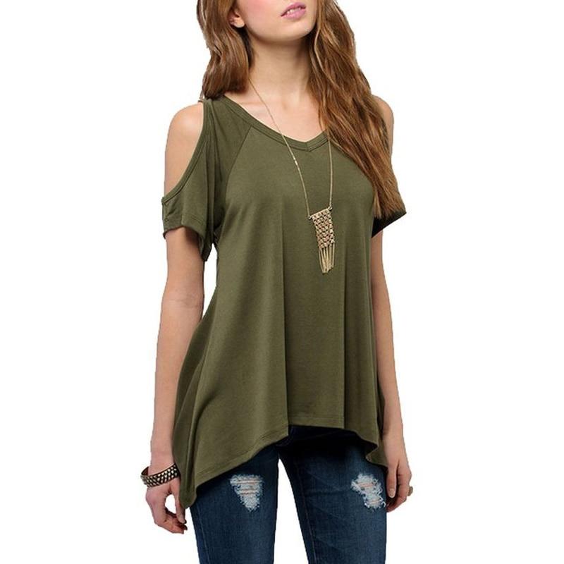 Women v neck off shoulder shirts casual t shirt plus size for Men s vs women s t shirt sizes
