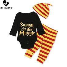 Chivry 3Pcs Baby Boys Clothes Set Boy Long Sleeve Letter Bodysuit Tops + Stripe Pants Newborn Infant Roupa