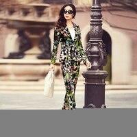 Бесплатная доставка 2015 модный женский костюм хлопок женский Принт черный костюм весна тонкий досуг небольшой костюм куртка