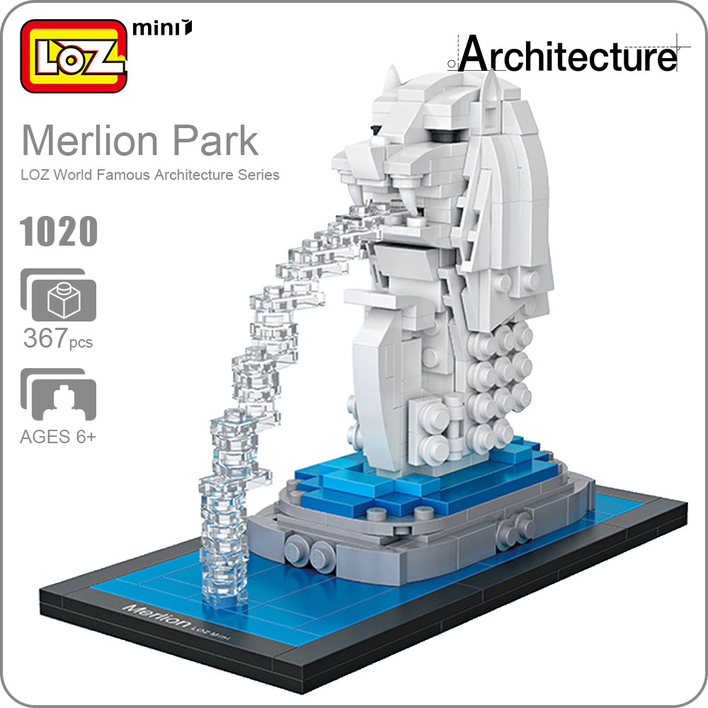 LOZ Building Blocks Educational Toys Kids Merlion Park Statue Singapore Fountain Mini Street View Architecture Toys Brick 1020 hot toys nanoblock world famous architecture statue of liberty building blocks mini construction brick model iblock fun for kid