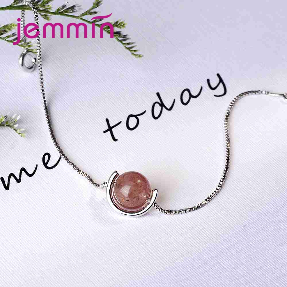 New Fashion Women Girls Pink Crystal Ball Pendant 925 Sterling Silver Necklace For Party Engagement Jewelry Wholesale
