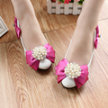 Pearl Rhinestone rose Bow Low-Heeled Shoes Single White Bridesmaid soft outsole adult Flats Bride Wedding Shoes Female Party