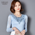 Women Blouse 2017 New Arrival Fashion Crochet Diamond Lace Shirt Slim Tops Long Sleeve Plus Size Shirt Woman Blusas 3XL 918B 33