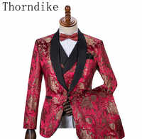 Hot Selling Red Jacquard 2019 One button slim fit groom tuxedo (Jacket+Pants+Vest) best men suits Groomsmen suits Customer Made