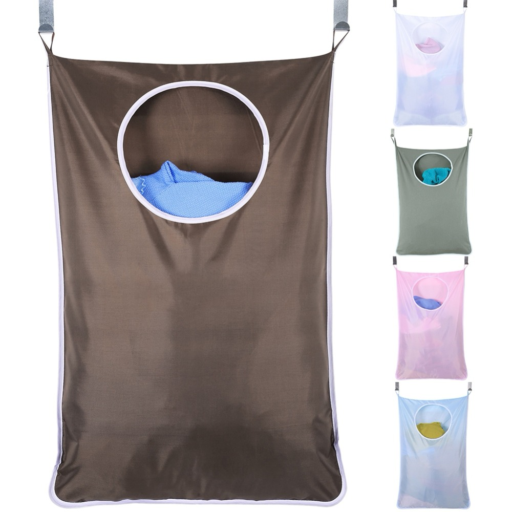 Large Size Wall-Hanging Laundry Hamper Bag with 2 Stainless Steel Hooks and 2 Suction Cup Hooks Oxford Fabric Storage Bag