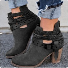 цены High-heeled thick with women's boots short boots with round head large size boots children's shoes in stock