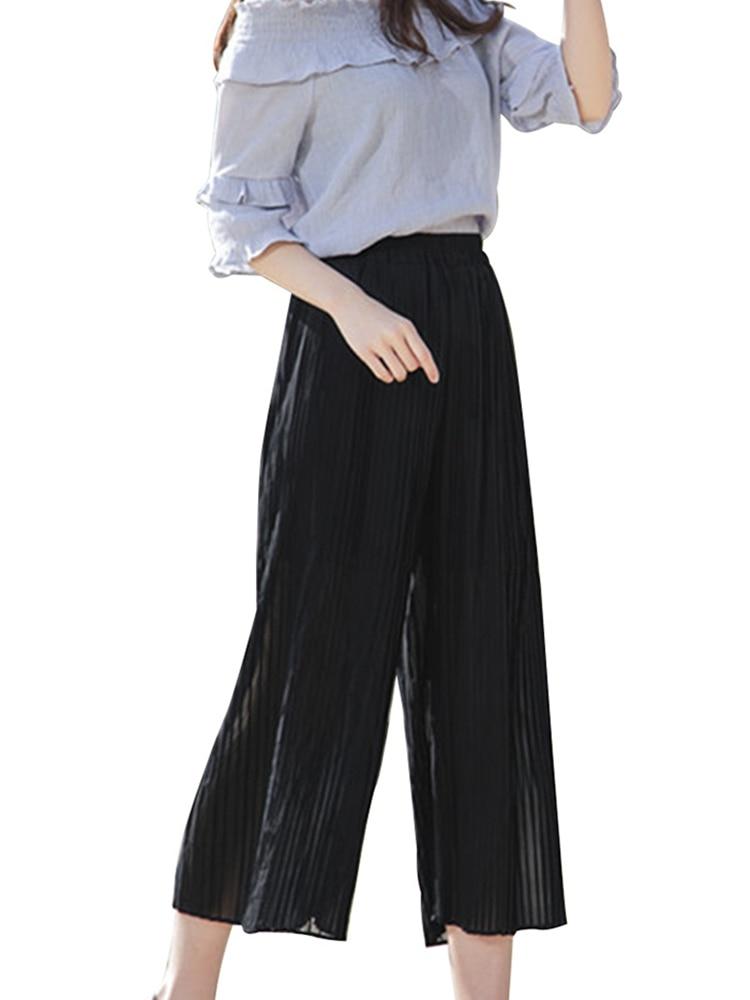 Solid Color Pleated   Wide     Leg     Pants   2019 New   Pant   Women Girl Female Summer High Waist Chiffon Long Korean Fashion Casual   Pants