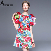 Colorful Appliques New Dresses 2017 Fashion Designer 3D Flowers Puff Sleeve High Street Luxury Floral Print Dress For Women