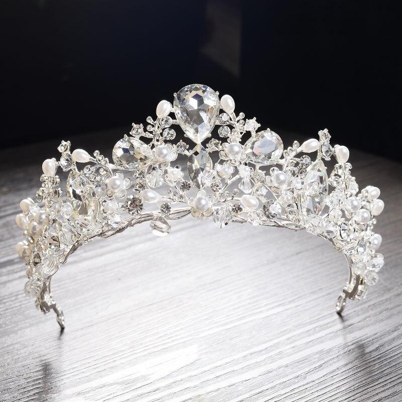 Gorgeous Silver Crystal Pearl Bridal Tiaras Wedding Hair Accessories Baroque Rhinestone Pageant Crown Diadem for Bride Headbands