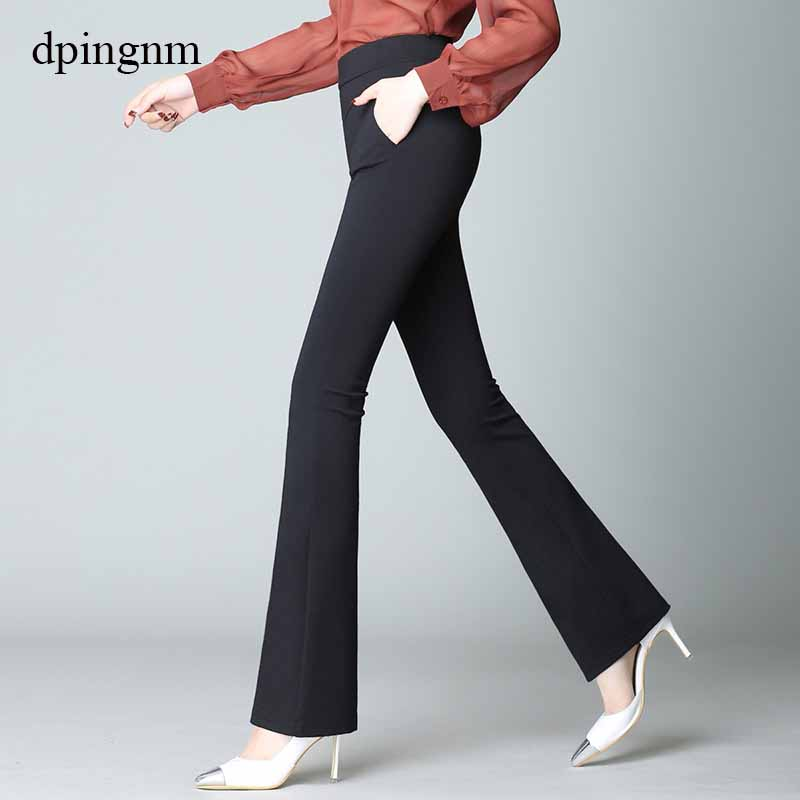 Womens High Waisted Trousers Black Wide Leg Flared Slim Bell Solid Pants Leggings
