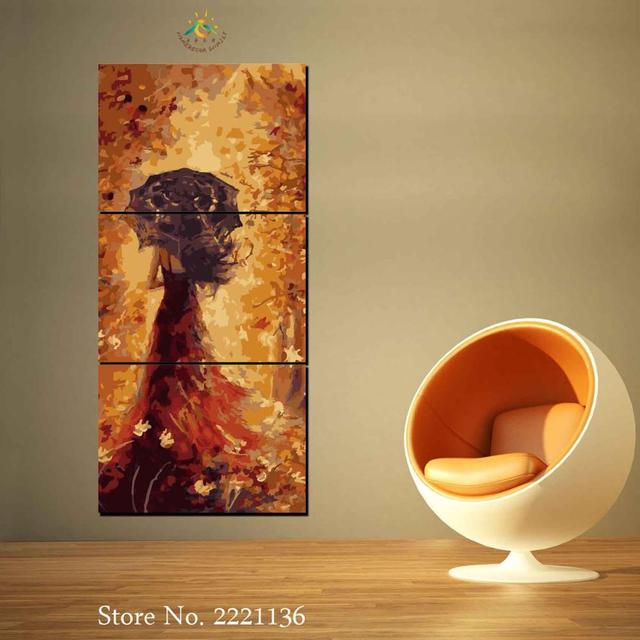 3 Pieces Umbrella Girl Modern Wall Art Canvas Printed Painting HD ...