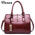 2017 Charm in hands Elegant Alligator Patent Leather Women Handbag Big Women's Shoulder Bags Design Lady Tote Handbag
