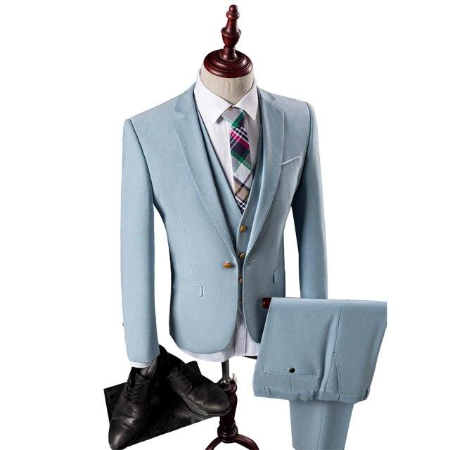 1aa5d6bb23e 3pieces Suit Men Light Blue British Slim Fit Mens Wedding Dress Suit  Business Blazer Set Tuxedo Formal Wear Men(Jacket+Pant+Vest