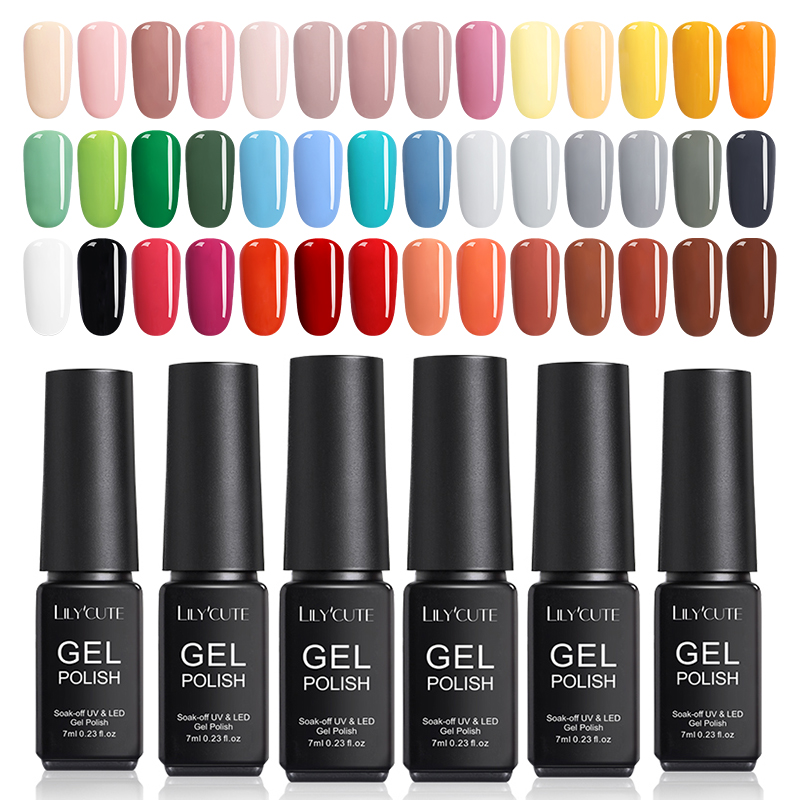 LILYCUTE 7ML UV Gel Varnish Nail Polish Set For Manicure Gellak Semi Permanent Hybrid Nails Art Off